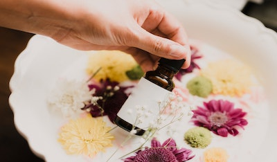 aromatherapy bottle in hand